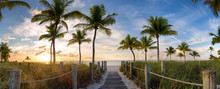 Panorama View Of Footbridge To The Smathers Beach At Sunrise - Key West, Florida.
