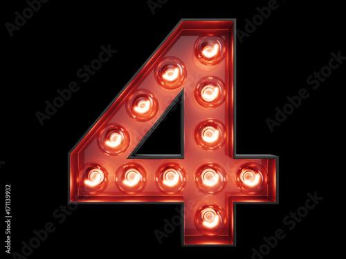 Light bulb digit alphabet character 4 four font Tapéta, Fotótapéta