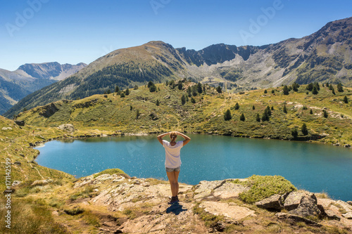 Lakes and ski lifts located in Andorra Wallpaper Mural