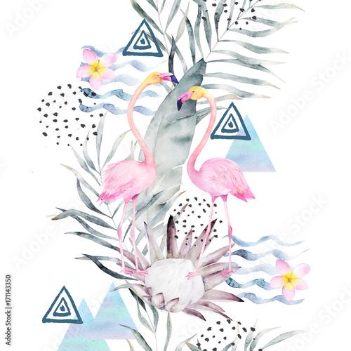 akwarela-wzor-z-flamingami