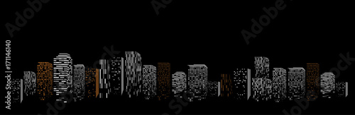Black geometric isolated abstract big city vector illustration. Night modern town building silhouette, skyscraper frame.