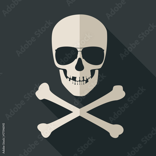 Skull and crossbones with sunglusses Canvas Print