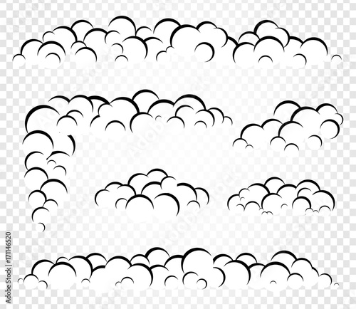 Fotografie, Tablou  Isolated vector clouds steam or smoke, foam template for design illustration