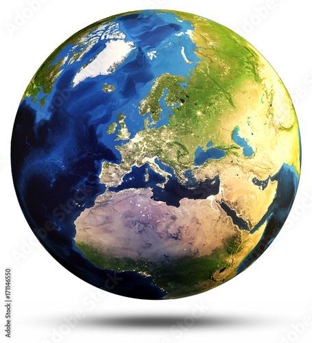 Fototapeta 3d renderingu mapy ziemi sfera