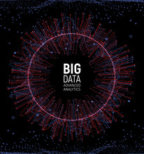 Big Data Abstract Vector Visualization. Lines And Dots Array. Big Data Connection Complex. Graphic Fractal Element Background. Vector Illustration.