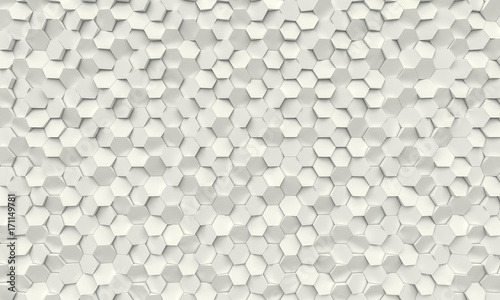geometric 3d polygonal background with hexagonal shapes in concrete material, different thicknesses. nobody around.
