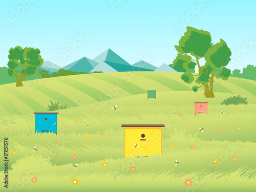 Tuinposter Lichtblauw Cartoon Beekeeping Apiary Farm Garden Landscape Background. Vector