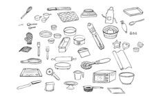 Icon Set Of Line Drawings Of T...
