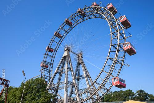 Austria, Vienna, Prater, Giant Ferris Wheel (Wiener Riesenrad) from 1897, historic city landmark