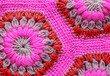 Leinwanddruck Bild - Knitted textile carpet pattern macro.