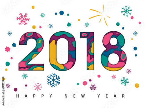 happy new year 2018 paper cut background carte de voeux new year greeting card