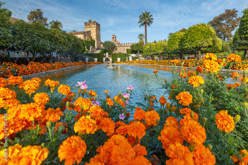 Fototapeta Blooming gardens and fountains of Alcazar de los Reyes Cristianos, royal palace
