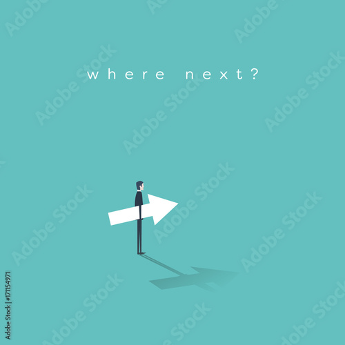 Photo Business career move concept vector with businessman making a decision about his future career and corporate ladder