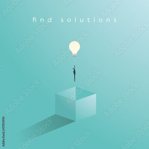 Fototapeta Think outside the box business concept vector with businessman having unieque creative idea for solution. Businessman flying with lightbulb. obraz