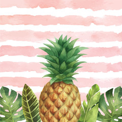 Plakat Watercolor vector banner tropical leaves and pineapple isolated on the background of stripes.
