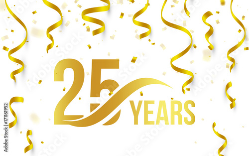 Fotografia  Isolated golden color number 25 with word years icon on white background with fa