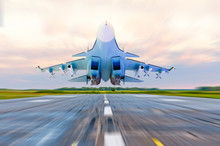 Military Fighter Jet Flies At ...