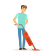 Young smiling man cleaning the floor with steam mop cleaner, house husband working at home vector Illustration