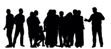 Vector, Isolated, Set Of Silhouettes People Are Standing And Walking