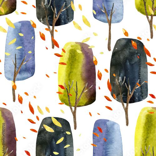 abstrakcjonistyczni-jesieni-drzewa-z-spada-liscmi-akwarela-bezszwowy-wzor