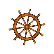 Ship, Sailboat Steering Wheel, Cartoon Vector Illustration Isolated On White Background. Cartoon Vector Illustration Of Traditional Wooden Ship, Sailboat Steering Wheel