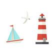 Nautical, marine set - sailboat, lighthouse and flying seagull, flat cartoon vector illustration isolated on white background. Nautical elements - sailboat, ship, lighthouse, seagull