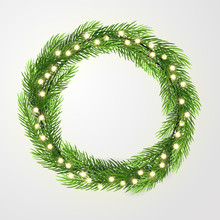 Green Wreath With Lights And Christmas Tree Branches. Vector Template, Space For Text.