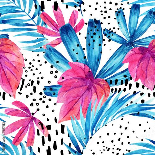 Photo sur Toile Empreintes Graphiques Watercolor tropical leaves seamless pattern.