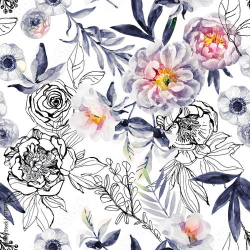 akwarela-i-atrament-doodle-kwiaty-liscie-chwasty-wzor