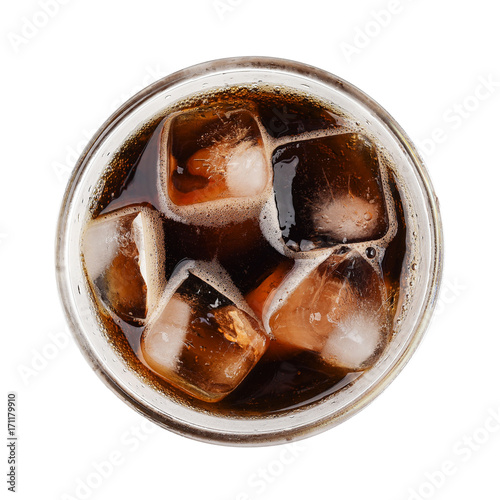 Cola soda with ice on glass isolated on white background top view