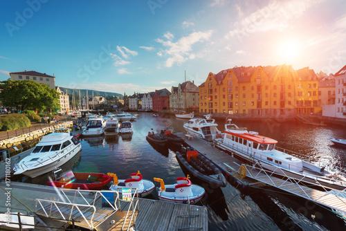 Printed kitchen splashbacks Athens Colorful sunset in Alesund port town