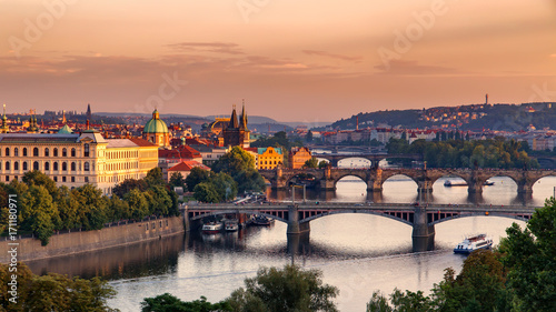 Poster Prague Vltava river in Prague, Czech Republic at the sunset