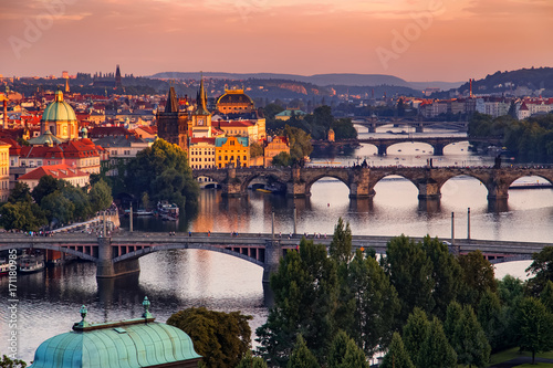 Vltava river in Prague, Czech Republic at the sunset Poster