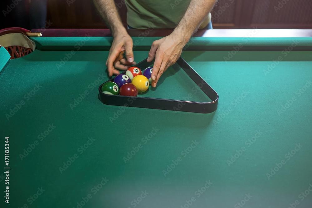 Photo Referee Preparing The Billiard Balls On Pool Table