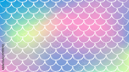 mermaid scale on trendy gradient background  horizontal backdrop with mermaid scale ornament
