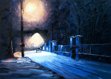 Winter Snow Lantern Park Machi...