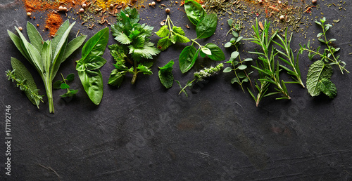 Herbs on a black board