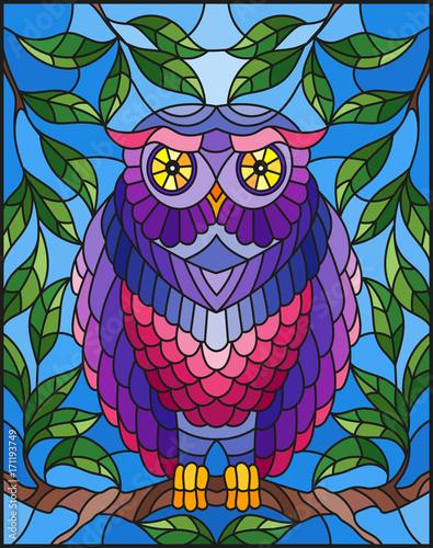 ilustracja-w-witrazu-styl-z-bajecznie-kolorowym-sowy-obsiadaniem-na-galaz-pr