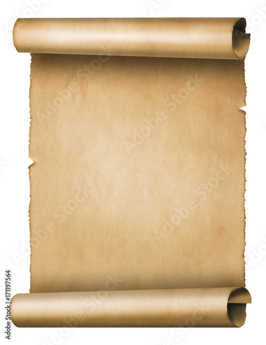 Photo  Old parchment scroll isolated on white background