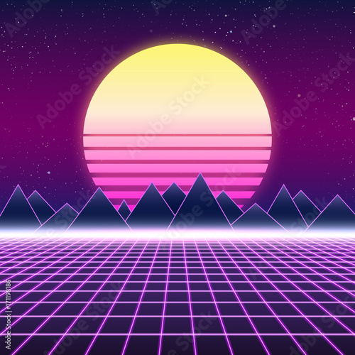 Photo Synthwave retro design, mountains and sun, vector illustration
