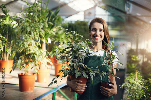 Fotografia Young happy female gardener holding plants in pots in owner run greenery store