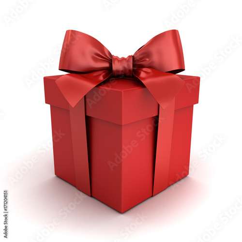 Red gift box or red present box with red ribbon bow isolated on white background with shadow and reflection . 3D rendering. © masterzphotofo
