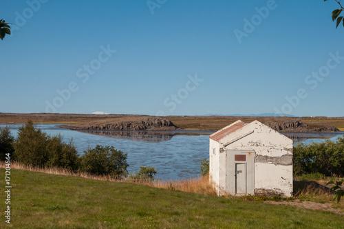 Foto op Plexiglas Arctica Cottage in Borgarfjordur Iceland