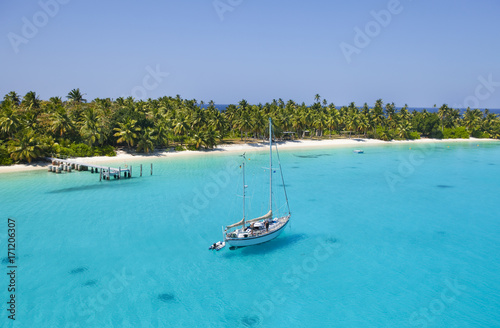 sailing Vessel in the shallow waters of Cocos Keeling Atoll, Indian Ocean