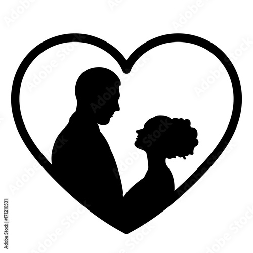 In Love Silhouette Vector Flat Icon Logo Bride And Groom Outline Drawing