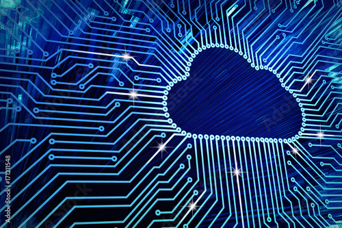 Cloud computing and network security technology concept, blue circuit board with cloud symbol and connection links