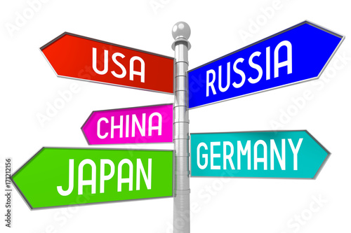 Signpost with 5 arrows - countries - USA, Russia, China
