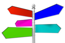 Empty Signpost With 5 Colorful...