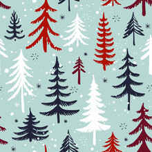 Seamless Pattern With Christmas Tree. Winter Forest. Vector Background.