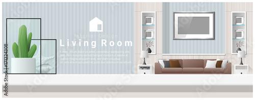 Fényképezés  Interior design with table top and Modern living room background , vector , illu